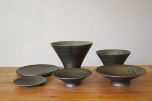 Wooden stacking bowl (Black)